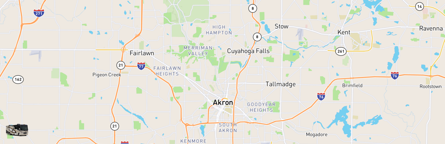 Class A RV Rentals Map Akron, OH