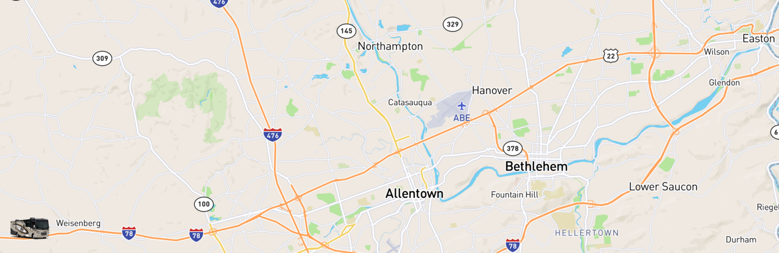 Class A RV Rentals Map Allentown, PA
