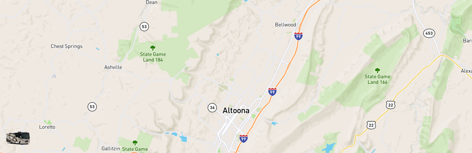 Class A RV Rentals Map Altoona Johnstown, PA
