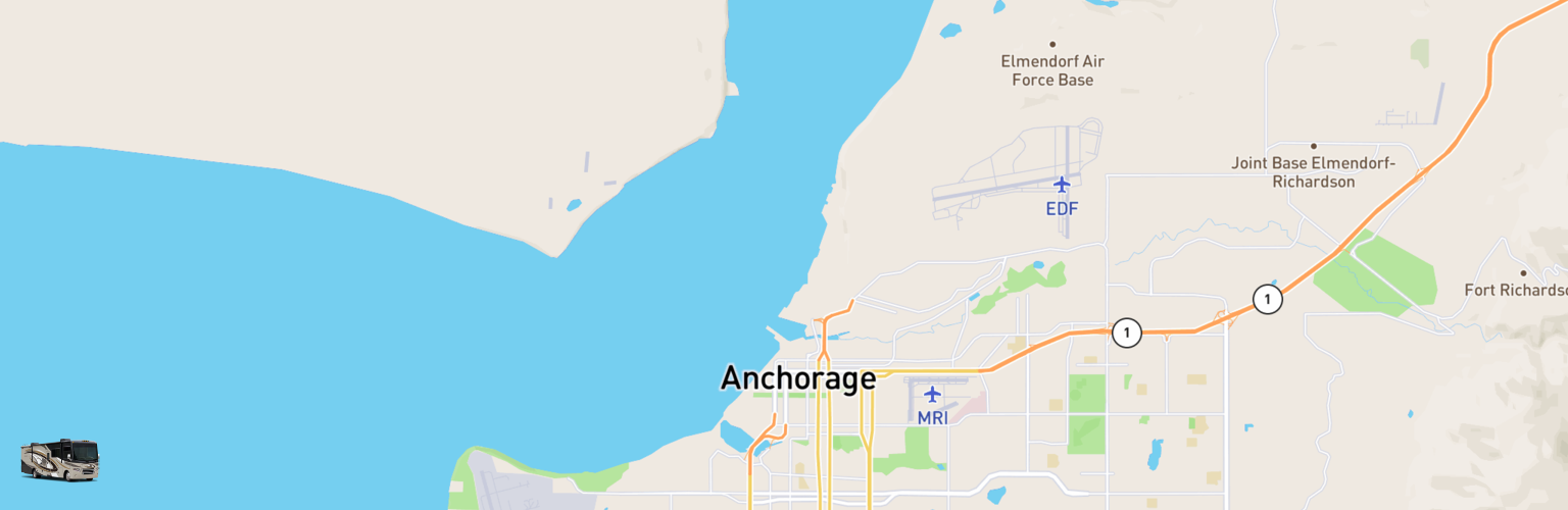 Class A RV Rentals Map Anchorage, AK