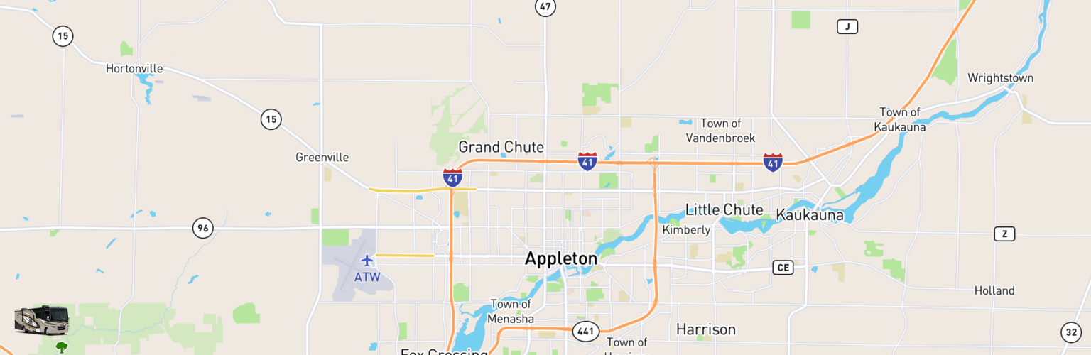 Class A RV Rentals Map Appleton, WI