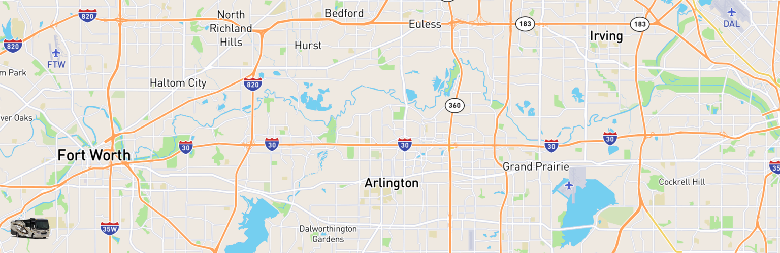 Class A RV Rentals Map Arlington, TX