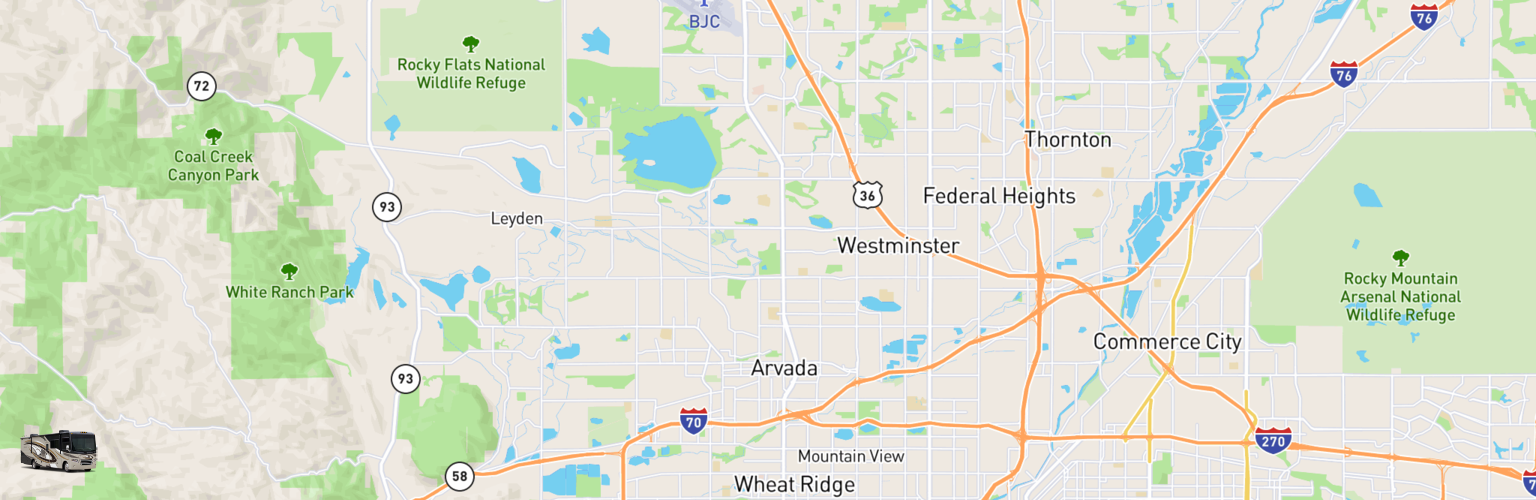 Class A RV Rentals Map Arvada, CO