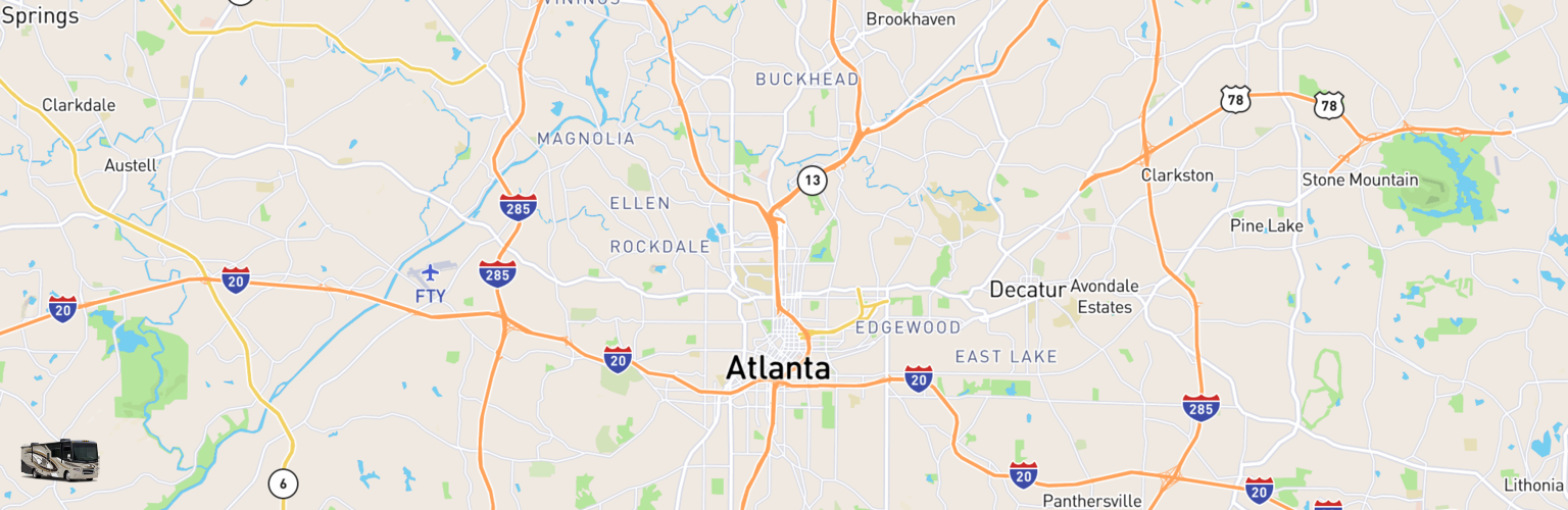 Class A RV Rentals Map Atlanta, GA