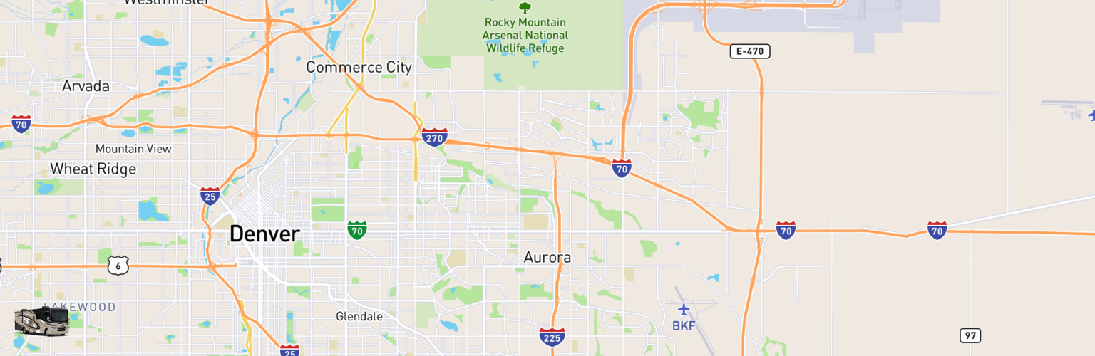 Class A RV Rentals Map Aurora, CO
