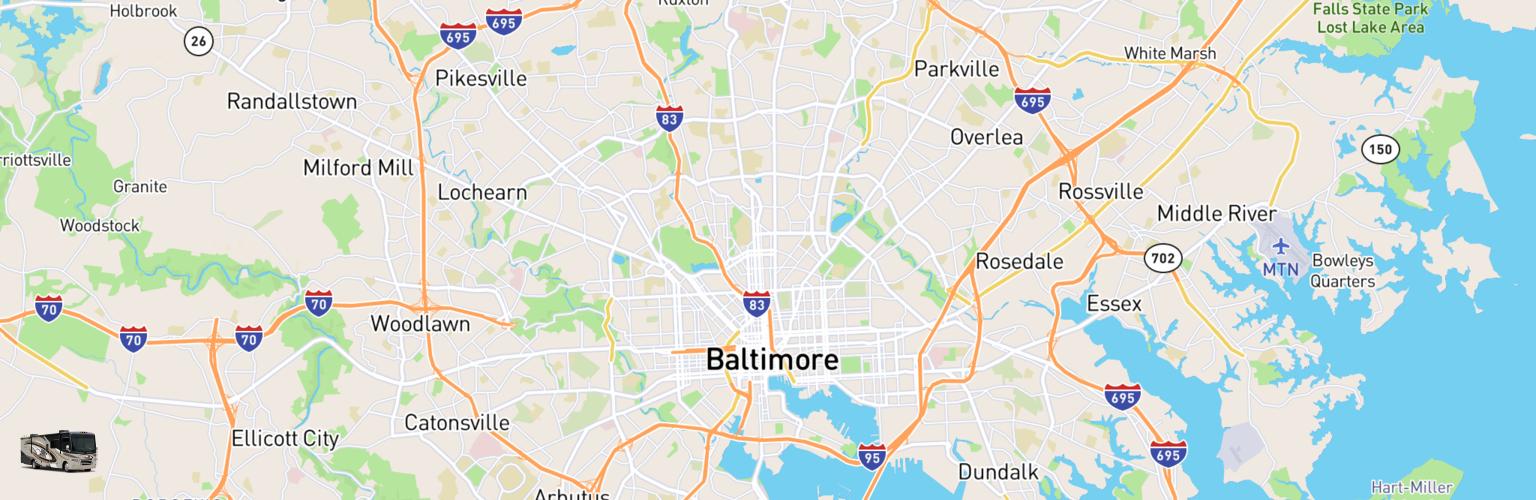 Class A RV Rentals Map Baltimore, MD