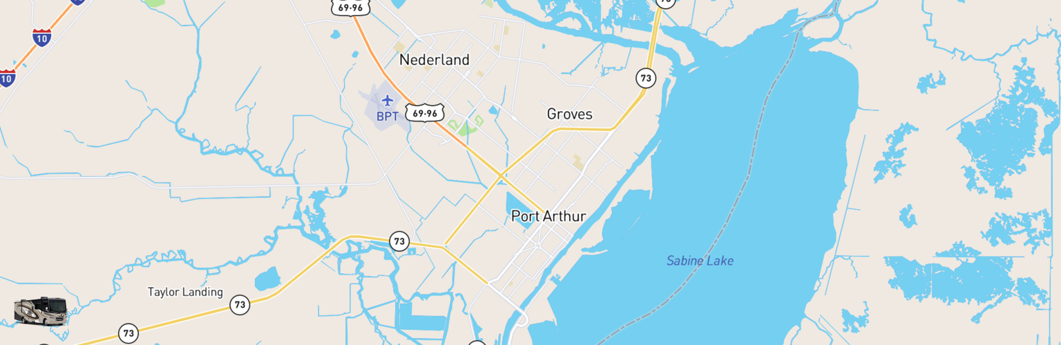 Class A RV Rentals Map Beaumont Port Arthur, TX