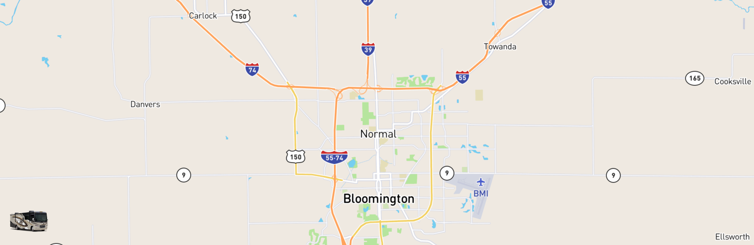 Class A RV Rentals Map Bloomington Normal, IL