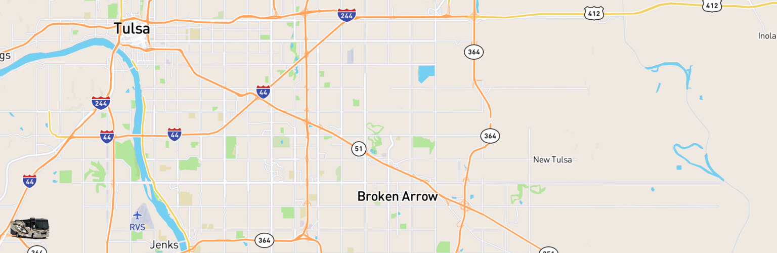 Class A RV Rentals Map Broken Arrow, OK