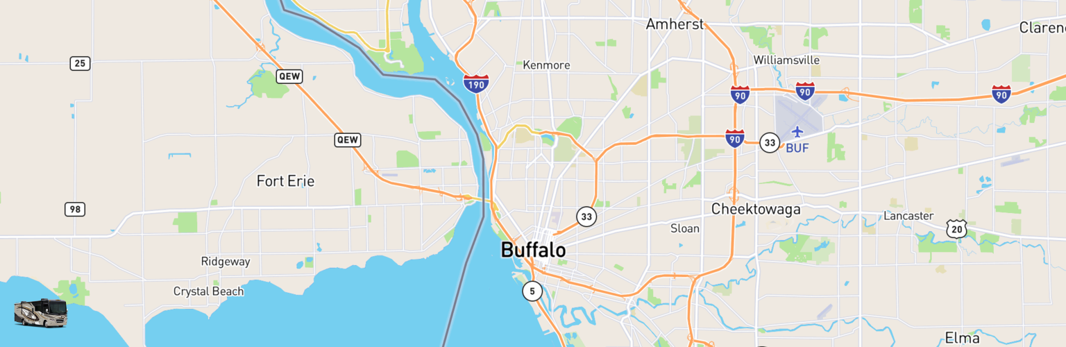 Class A RV Rentals Map Buffalo, NY