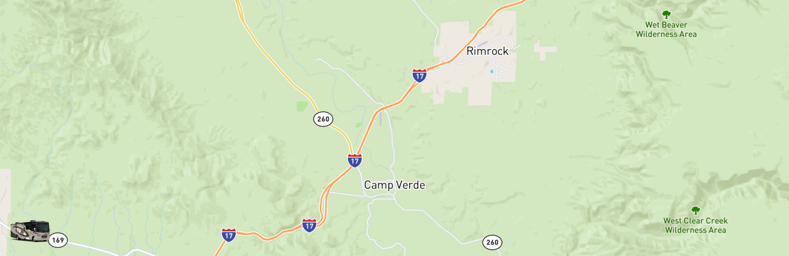 Class A RV Rentals Map Camp Verde, AZ