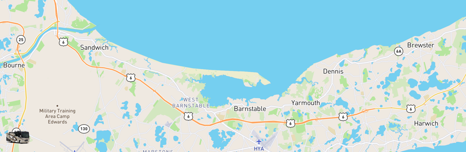 Class A RV Rentals Map Cape Cod, MA