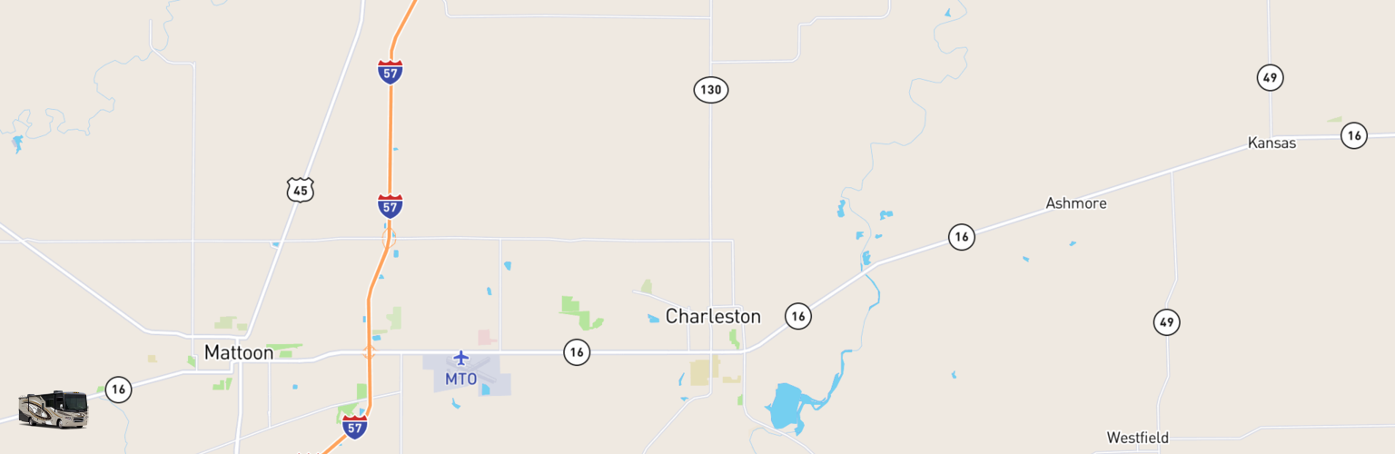 Class A RV Rentals Map Charleston Mattoon, IL