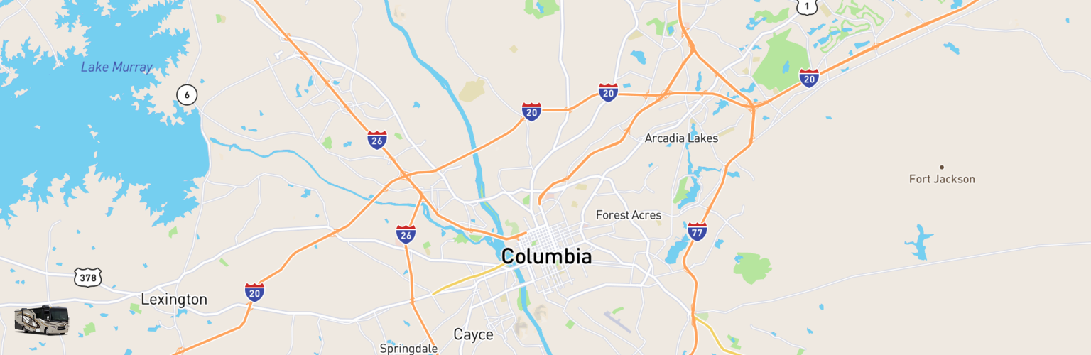 Class A RV Rentals Map Columbia, SC