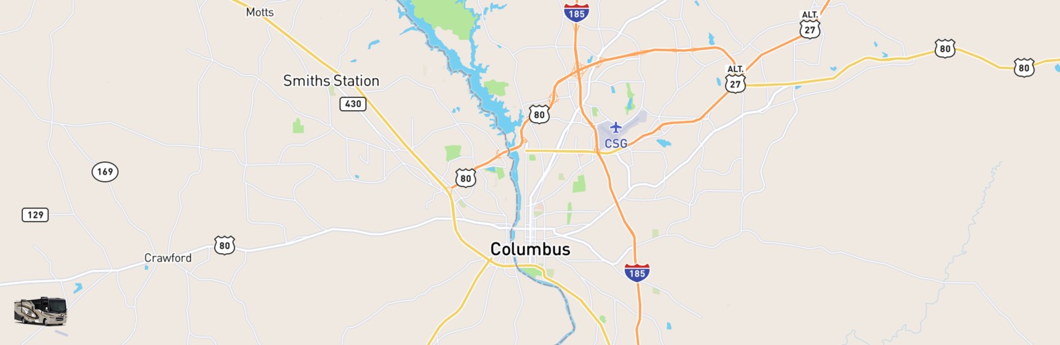 Class A RV Rentals Map Columbus, GA