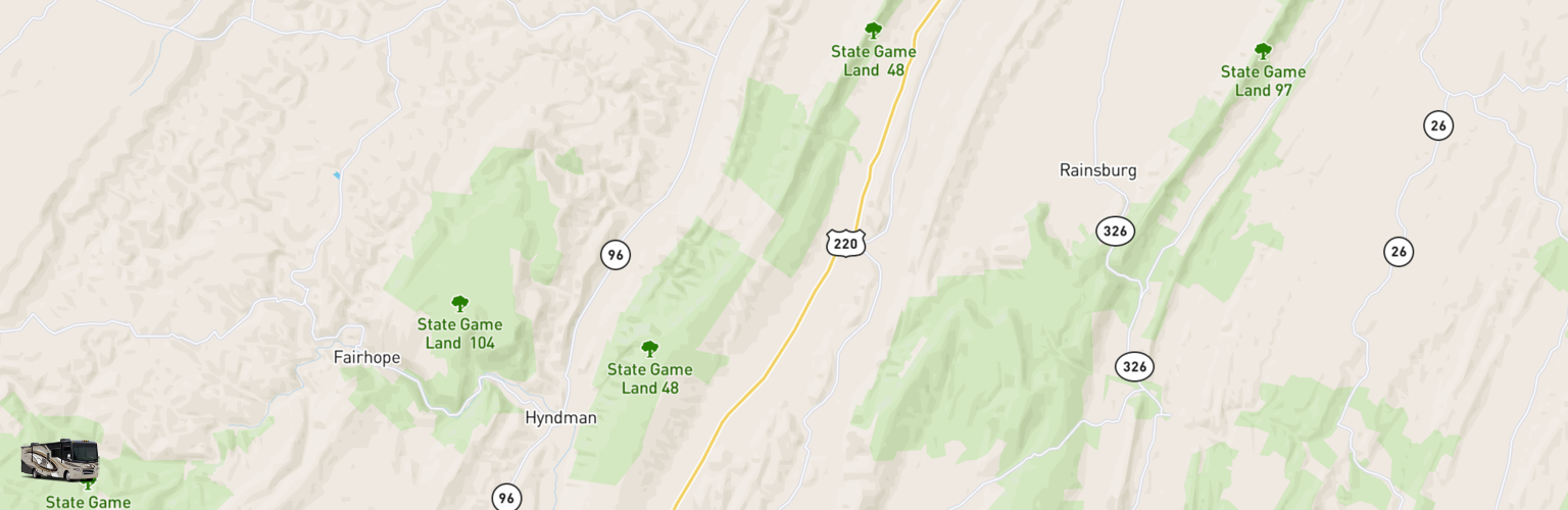 Class A RV Rentals Map Cumberland Valley, PA