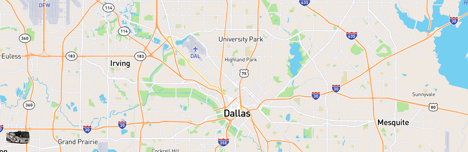 Class A RV Rentals Map Dallas, TX