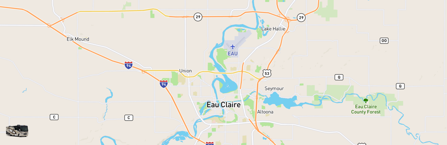 Class A RV Rentals Map Eau Claire, WI