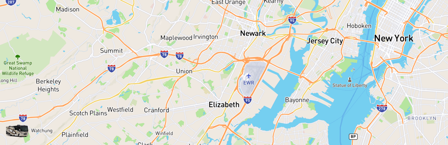 Class A RV Rentals Map Elizabeth, NJ