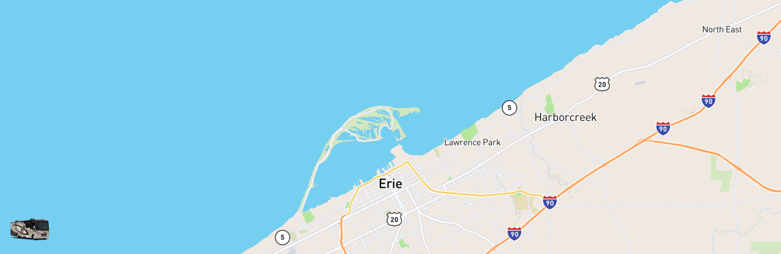 Class A RV Rentals Map Erie, PA