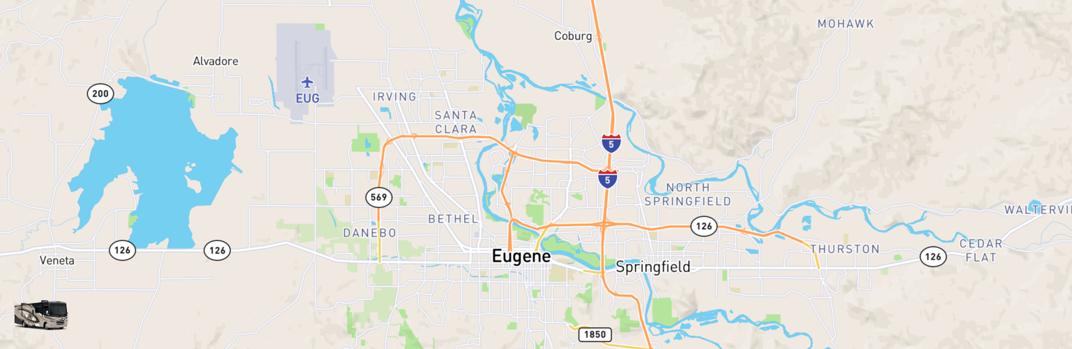 Class A RV Rentals Map Eugene, OR