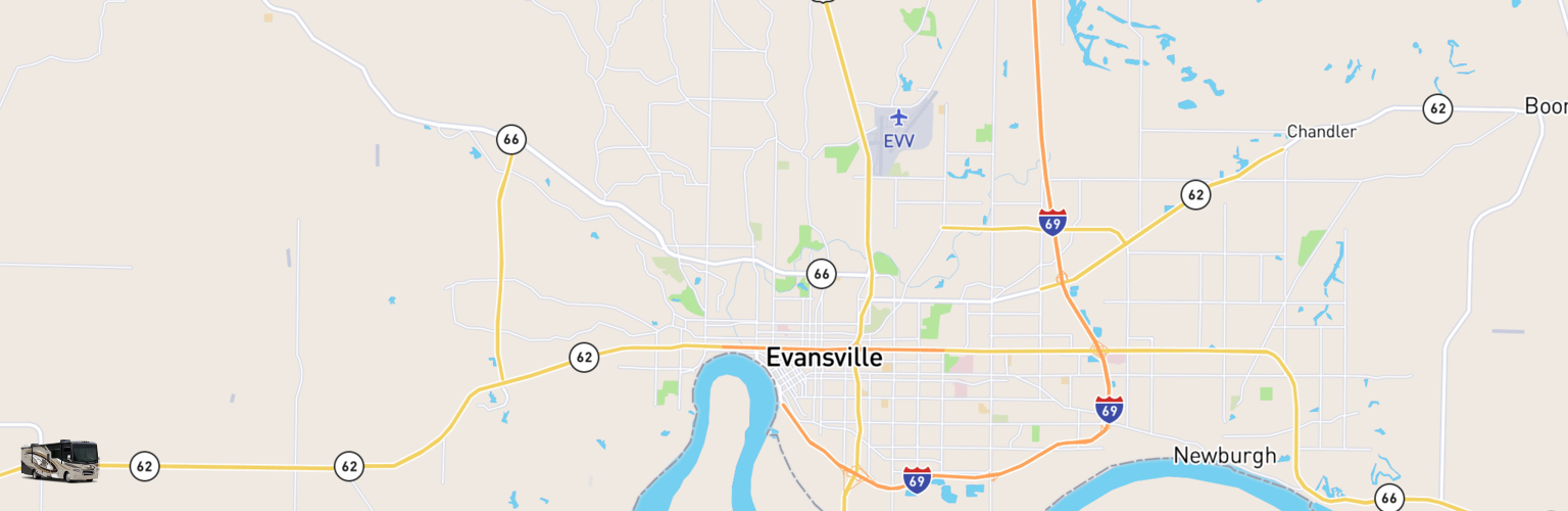Class A RV Rentals Map Evansville, IN