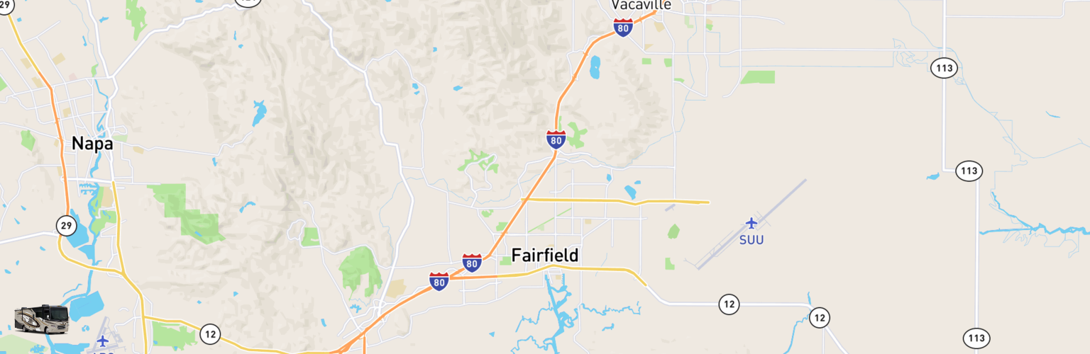 Class A RV Rentals Map Fairfield, CA