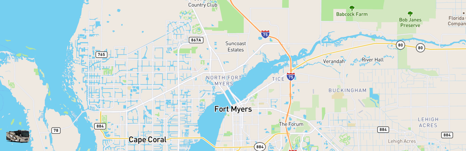 Class A RV Rentals Map Fort Myers, FL