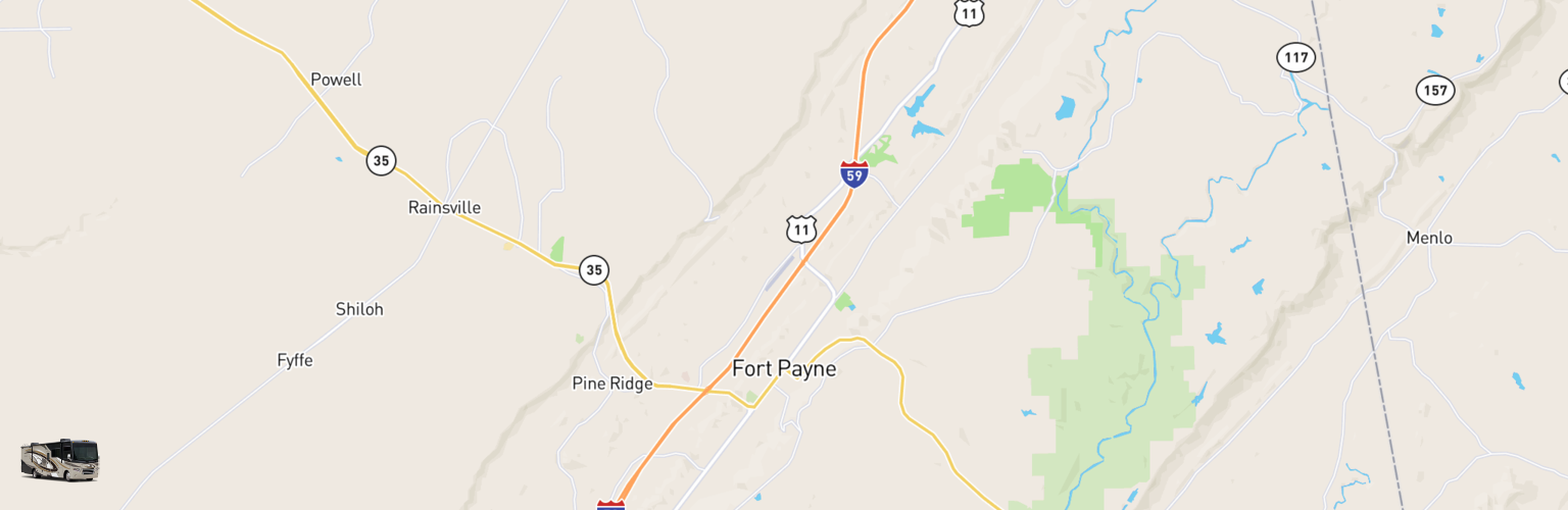 Class A RV Rentals Map Fort Payne, AL