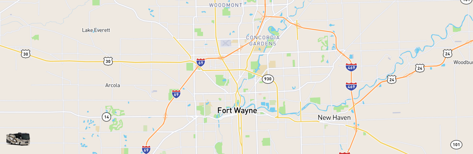Class A RV Rentals Map Fort Wayne, IN