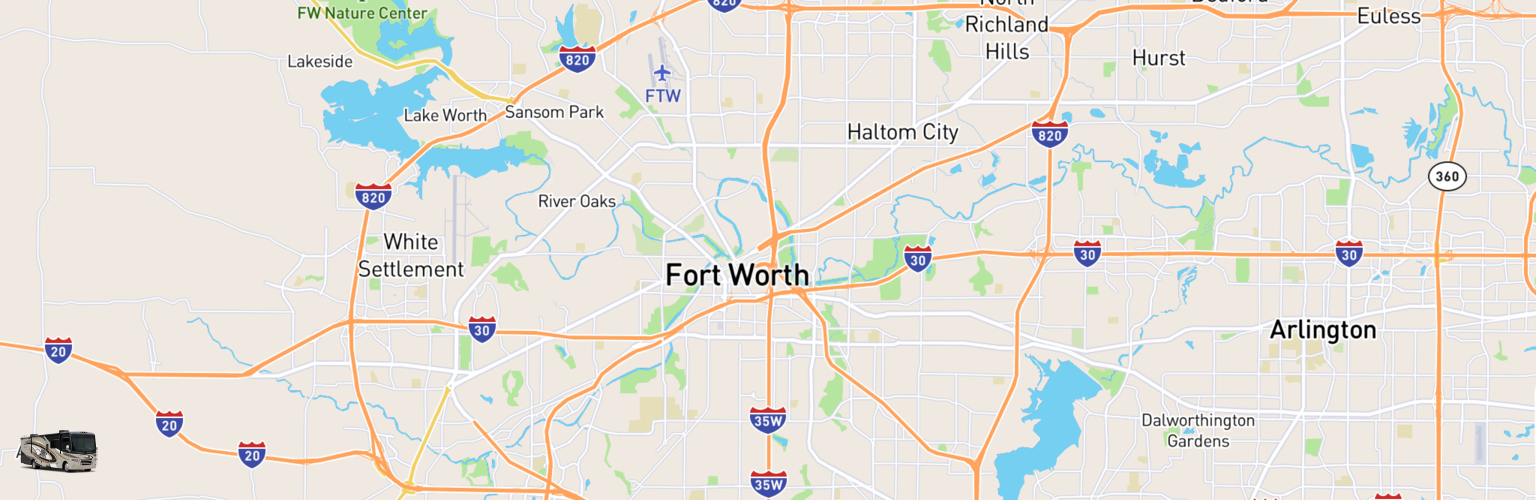 Class A RV Rentals Map Fort Worth, TX