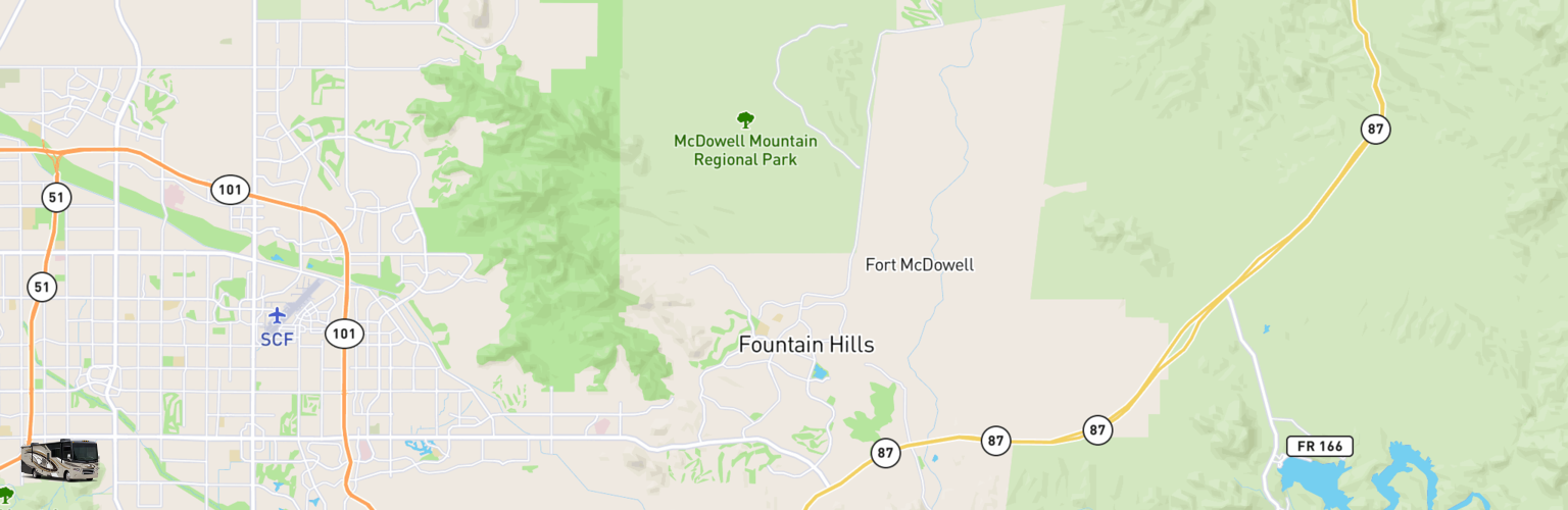 Class A RV Rentals Map Fountain Hills, AZ