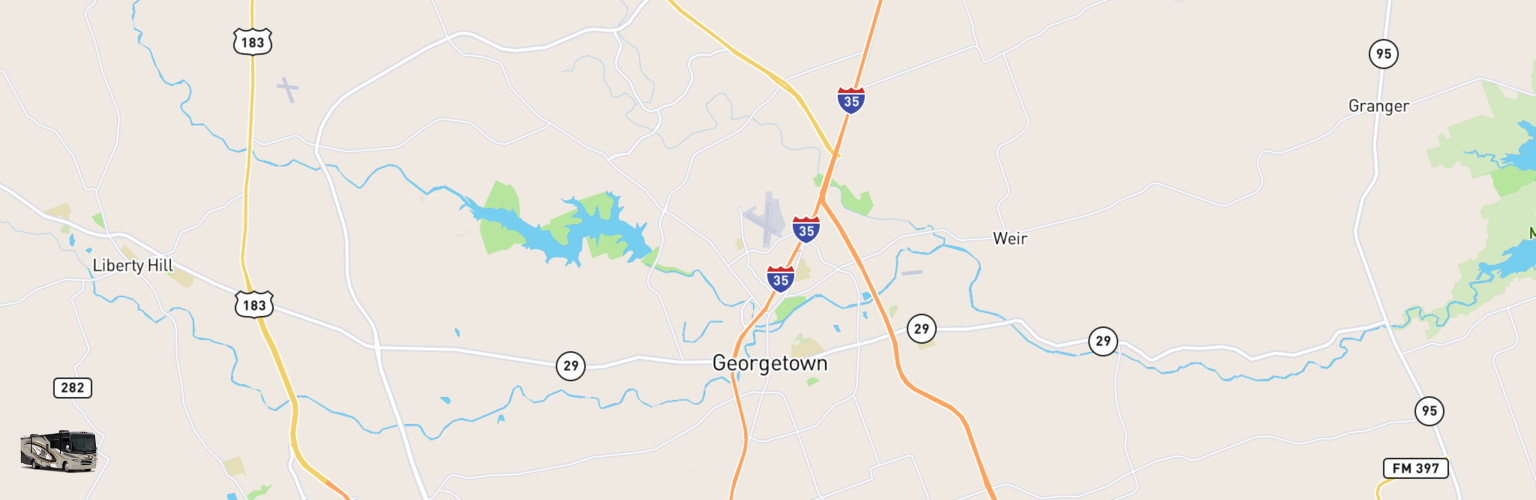 Class A RV Rentals Map Georgetown, TX