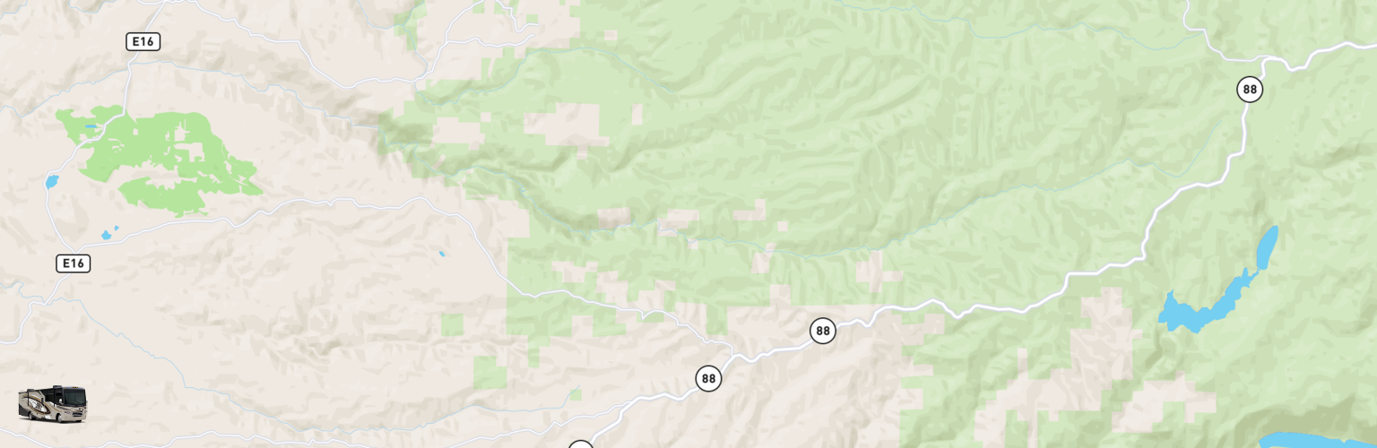 Class A RV Rentals Map Gold Country, CA