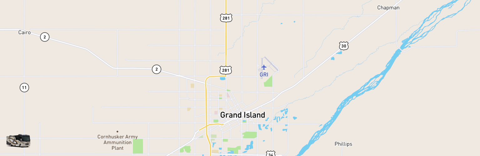Class A RV Rentals Map Grand Island, NE