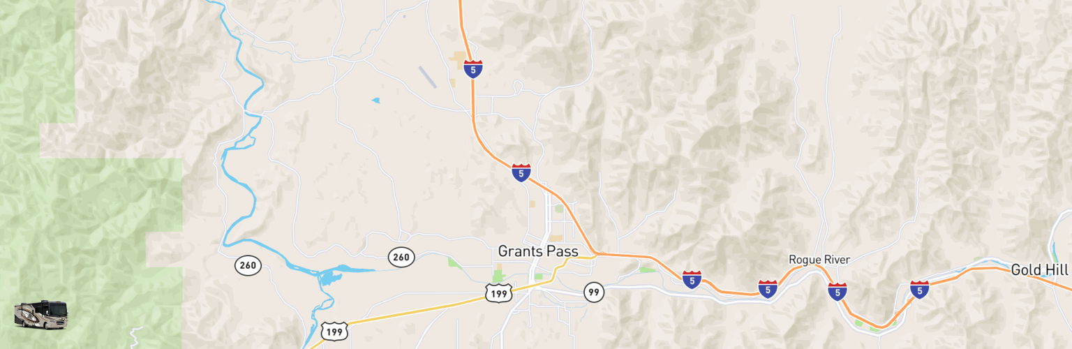 Class A RV Rentals Map Grants Pass, OR