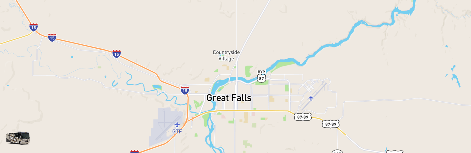 Class A RV Rentals Map Great Falls, MT