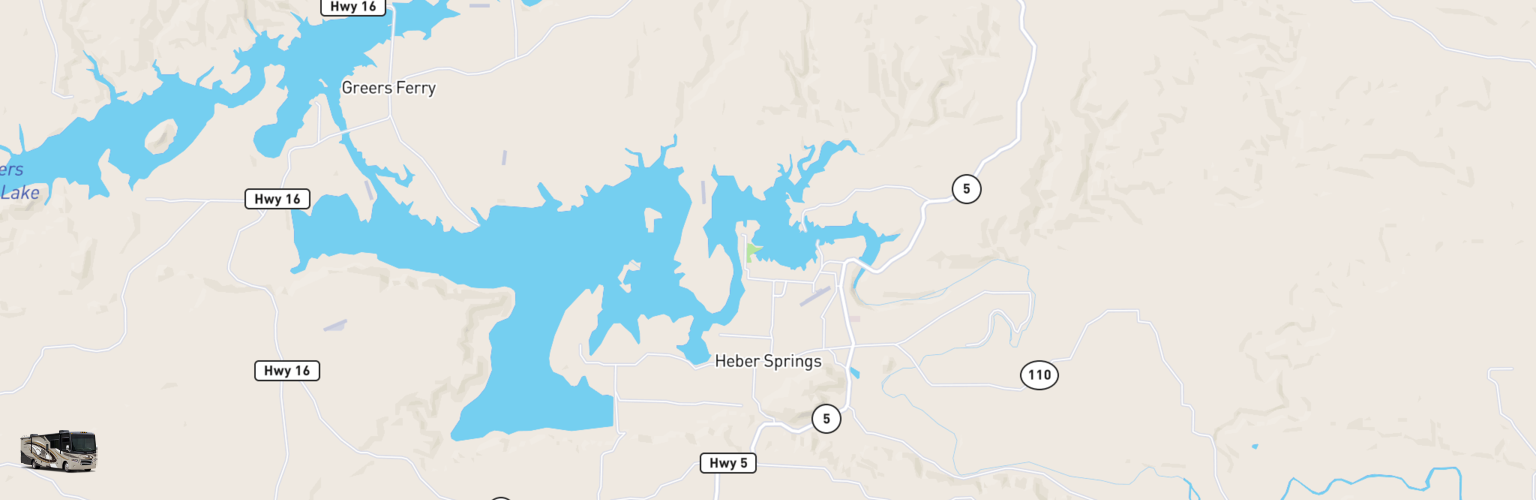Class A RV Rentals Map Heber Springs, AR