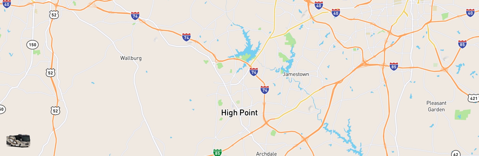 Class A RV Rentals Map High Point, NC