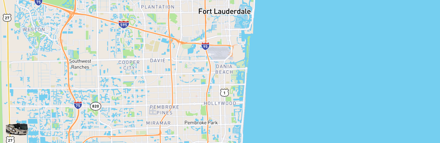 Class A RV Rentals Map Hollywood, FL