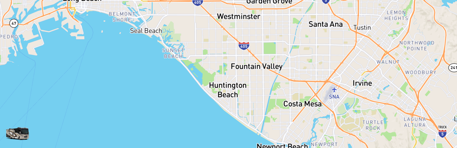 Class A RV Rentals Map Huntington Beach, CA