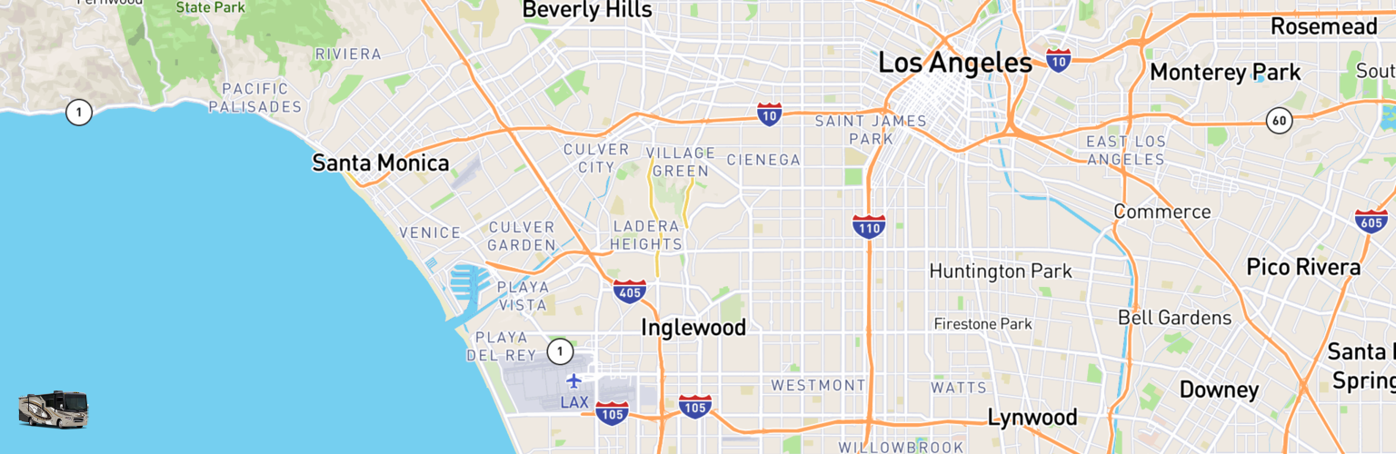 Class A RV Rentals Map Inglewood, CA