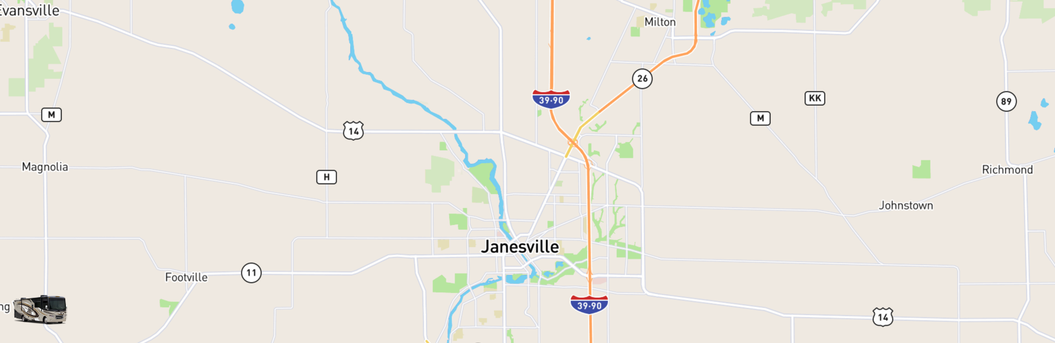 Class A RV Rentals Map Janesville, WI