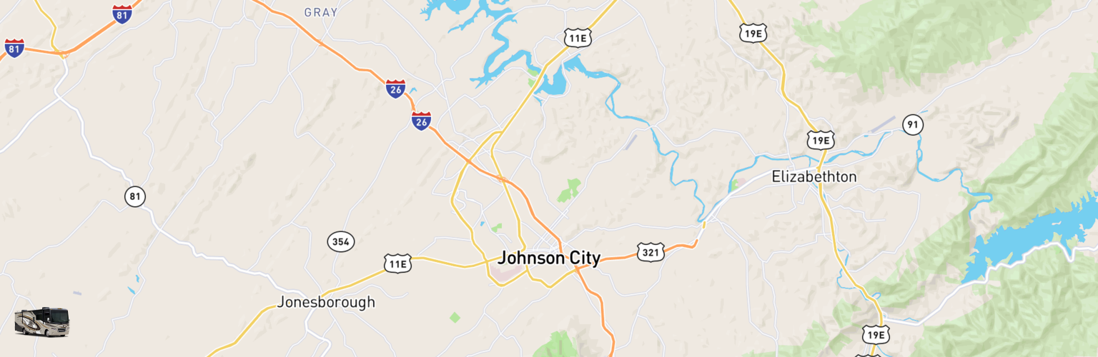 Class A RV Rentals Map Johnson City, TN