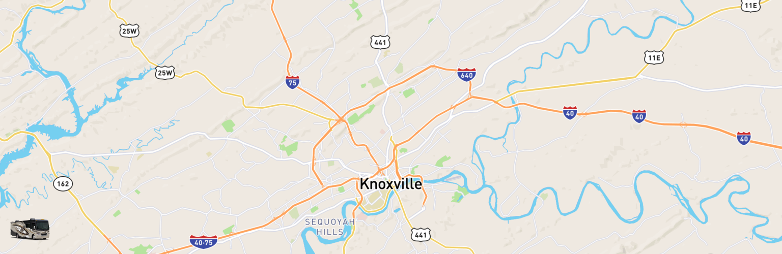Class A RV Rentals Map Knoxville, TN