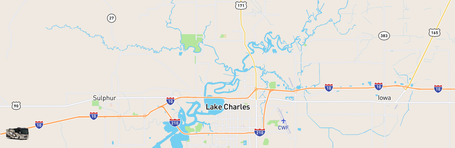 Class A RV Rentals Map Lake Charles, LA