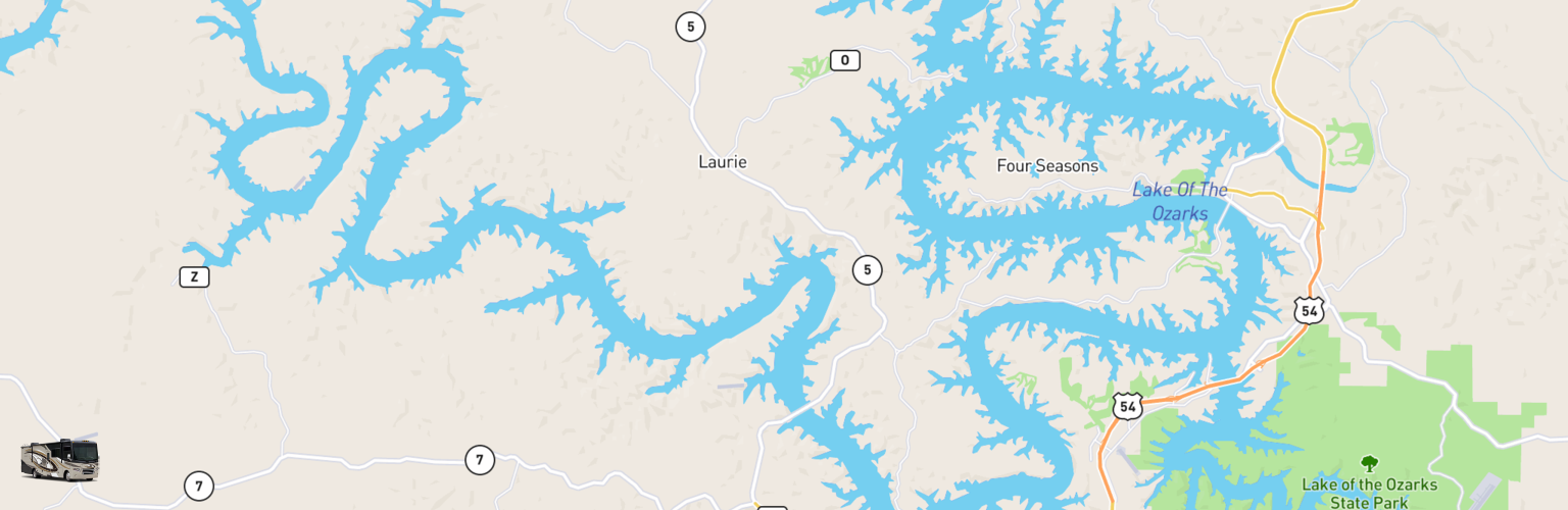 Class A RV Rentals Map Lake Of The Ozarks, MO