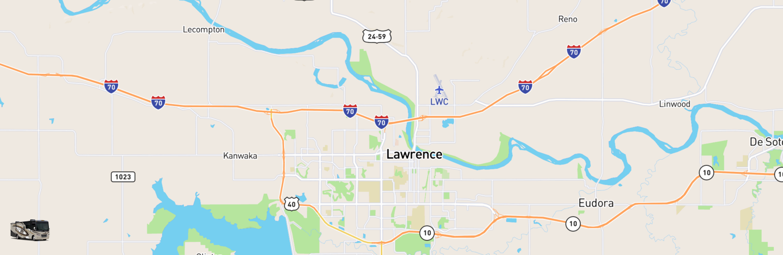 Class A RV Rentals Map Lawrence, KS
