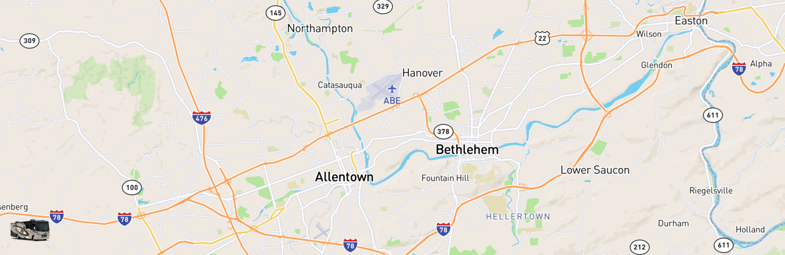 Class A RV Rentals Map Lehigh Valley, PA