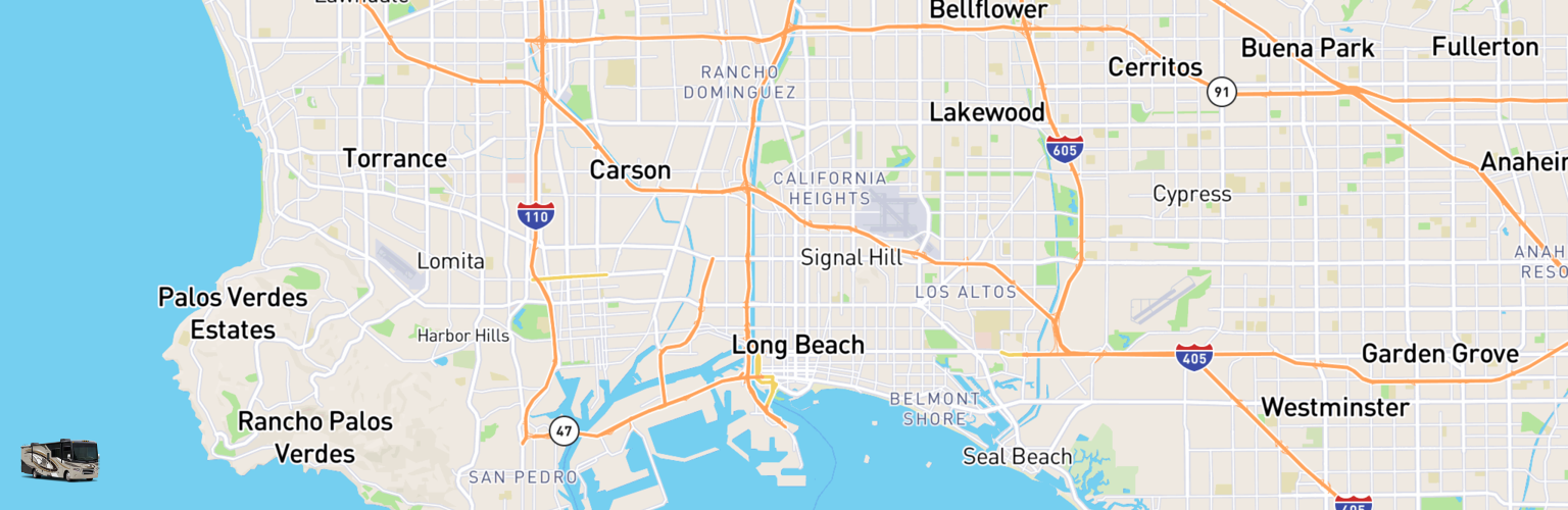 Class A RV Rentals Map Long Beach, CA